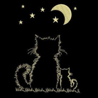 cats silhouette and moonlight