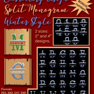 split monogram alphabet embroidery design