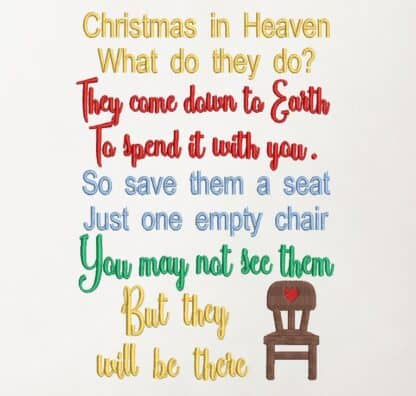 Christmas empty chair embroidery design
