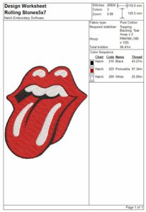 Rolling Stones tongue embroidery design