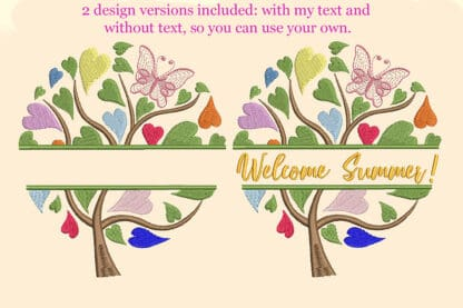 Colorful tree embroidery design