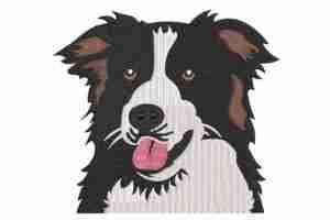 Border Collie dog embroidery design