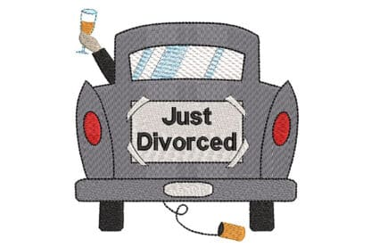 Just Divorced embroidery, ironic embroidery design
